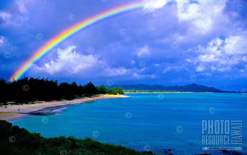 Rainbow over Kailua beach, windward side of Oahu