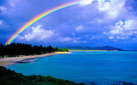 Rainbow over Kailua beach, windward side of Oahu
