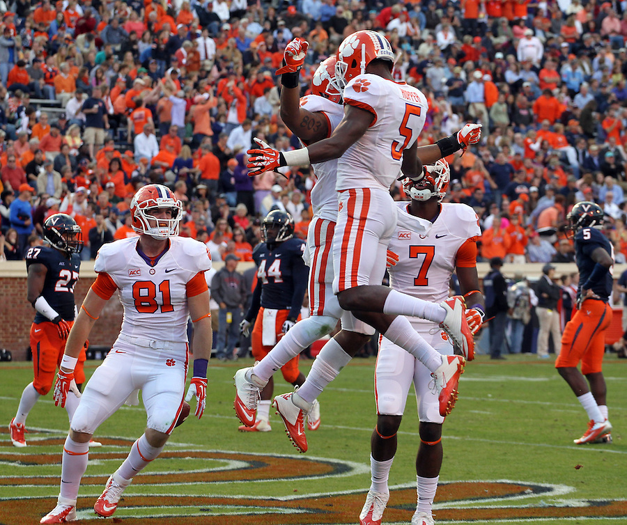 Clemson tight end Stanton Seckinger (81), Clemson wide receiver Germone Hopper (5) and Clemson quarterback Tajh Boyd (10) during and NCAA football game at Scott Stadium in Charlottesville, VA. Clemson defeated Virginia 59-10. Photo/Andrew Shurtleff