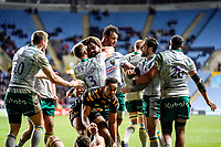 5th January 2020; Ricoh Arena, Coventry, West Midlands, England; English Premiership Rugby, Wasps versus Northampton Saints; Taqele Naiyaravoro of Northampton Saints celebrates scoring the final try of the game in the last minute for Northampton Saints to win 35-31  - Editorial Use