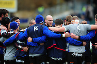 Matt Garvey of Bath Rugby speaks to his team-mates in a pre-match huddle. Aviva Premiership match, between Bath Rugby and Saracens on December 3, 2016 at the Recreation Ground in Bath, England. Photo by: Patrick Khachfe / Onside Images