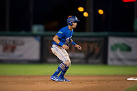 Ogden Raptors third baseman Marcus Chiu (13) takes a lead off second base during a Pioneer League game against the Orem Owlz at Home of the OWLZ on August 24, 2018 in Orem, Utah. The Ogden Raptors defeated the Orem Owlz by a score of 13-5. (Zachary Lucy/Four Seam Images)