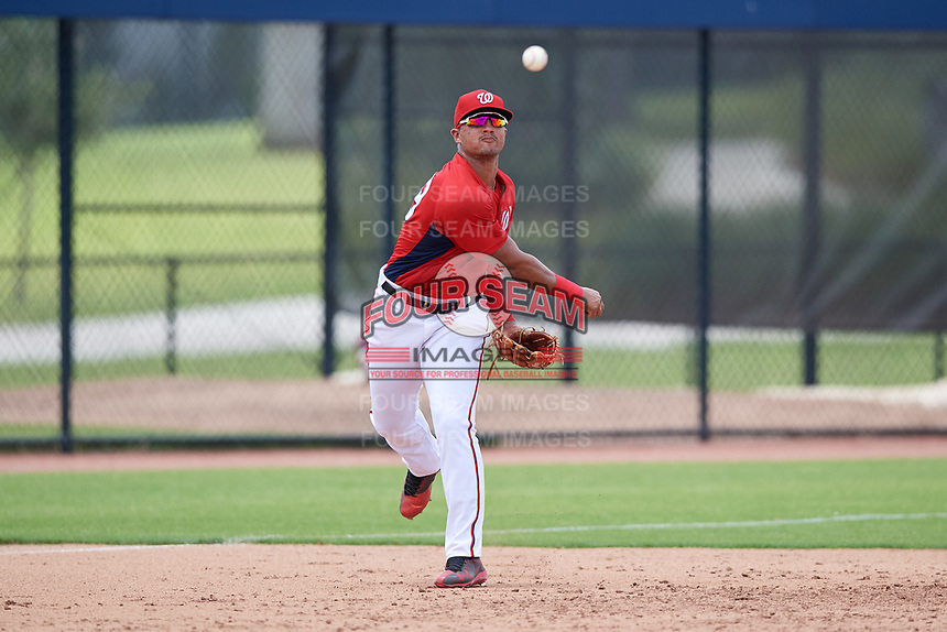 GCL Nationals third baseman Anderson Franco (39) throws to first base during a game against the GCL Mets on August 4, 2018 at FITTEAM Ballpark of the Palm Beaches in West Palm Beach, Florida.  GCL Nationals defeated GCL Mets 7-4.  (Mike Janes/Four Seam Images)