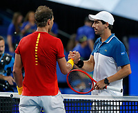 6th January 2020; RAC Arena, Perth, Western Australia; ATP Cup Australia, Perth, Day 4; Spain versus Uruguay; Rafael Nadal of Spain shakes hands with Pablo Cuevas of Uruguay after defeating him in straight sets - Editorial Use