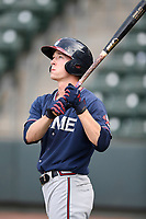 Center fielder Drew Waters (11) of the Rome Braves takes batting practice before a game against the Greenville Drive on Saturday, April 14, 2018, at Fluor Field at the West End in Greenville, South Carolina. Rome won, 4-0. (Tom Priddy/Four Seam Images)