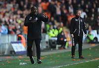 Southend United manager Chris Powell shouts instructions to his team from the dug-out <br /> <br /> Photographer Kevin Barnes/CameraSport<br /> <br /> The EFL Sky Bet League One - Blackpool v Southend United - Saturday 9th March 2019 - Bloomfield Road - Blackpool<br /> <br /> World Copyright © 2019 CameraSport. All rights reserved. 43 Linden Ave. Countesthorpe. Leicester. England. LE8 5PG - Tel: +44 (0) 116 277 4147 - admin@camerasport.com - www.camerasport.com