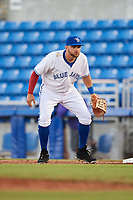 Dunedin Blue Jays first baseman Bradley Jones (20) during a game against the Fort Myers Miracle on April 17, 2018 at Dunedin Stadium in Dunedin, Florida.  Dunedin defeated Fort Myers 5-2.  (Mike Janes/Four Seam Images)