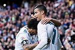 Cristiano Ronaldo of Real Madrid (R) celebrating his score with Marco Asensio of Real Madrid (C) and Marcelo da Silva of Real Madrid (L) during the La Liga 2017-18 match between Real Madrid and Sevilla FC at Santiago Bernabeu Stadium on 09 December 2017 in Madrid, Spain. Photo by Diego Souto / Power Sport Images