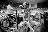 Jasper De Buyst (BEL/Topsport Vlaanderen-Baloise) helped by his dad & soigneur Franky De Buyst<br /> <br /> Ghent 6 - day 1