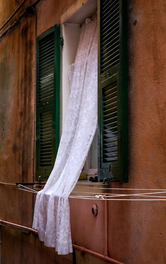 VERNAZZA, ITALY - CIRCA MAY 2015:  Windows in the village of Vernazza in Cinque Terre, Italy.
