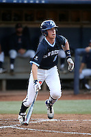 Riley Adams (21) of the University of San Diego Toreros bats against the Cal State Fullerton Titans at Goodwin Field on April 5, 2016 in Fullerton, California. Cal State Fullerton defeated University of San Diego, 4-2. (Larry Goren/Four Seam Images)