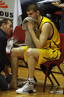 Injured Dynamos import Eric Vierneisel during the NBL Round 9 match between the Wellington Saints and Nelson Giants at TSB Bank Arena, Wellington, New Zealand on Thursday 7 May 2009. Photo: Dave Lintott / lintottphoto.co.nz