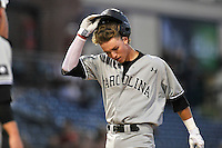 First baseman LT Tolbert (11) of the South Carolina Gamecocks crosses the plate after hitting a home run in a game against the USC Upstate Spartans on Tuesday, March 15, 2016, at Fluor Field at the West End in Greenville, South Carolina. (Tom Priddy/Four Seam Images)