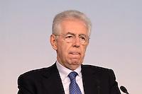 Roma, 22 Maggio 2012.Palazzo Chigi.Conferenza stampa sui ritardi dei pagamenti della Pubblica Amministrazione.Mario Monti Presidente del Consiglio