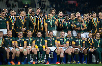The South Africa team pose for a photo after the match. Rugby World Cup Bronze Final between South Africa and Argentina on October 30, 2015 at The Stadium, Queen Elizabeth Olympic Park in London, England. Photo by: Patrick Khachfe / Onside Images