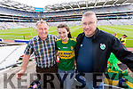 Attending the All-Ireland football semi-final in Croke Park on Sunday were l-r: Denis McEnery, Clodagh Fitzgerald, Michael McEnery, all from Duagh.