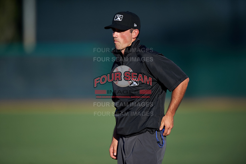 Umpire Sean Sparling during an Arizona League game between the AZL White Sox and the AZL Royals at Camelback Ranch on June 19, 2019 in Glendale, Arizona. AZL White Sox defeated AZL Royals 4-2. (Zachary Lucy/Four Seam Images)