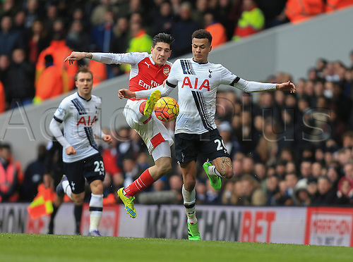 05.03.2016. White Hart Lane, London, England. Barclays Premier League. Tottenham Hotspur versus Arsenal. Héctor Bellerín of Arsenal with the high challenge on Dele Alli of Tottenham Hotspur.