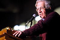 74 year old Noam Chomsky speaks in front of a sold-out audience of over 500 people at the Auraria Event Center in Denver, Friday, April 4, 2003. Chomsky spoke about the dangers ofthe United States and the importance of the recent worldwide anti-war movement. ..PHOTOS/ MATT NAGER