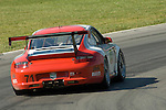 20 June 2008: The Synergy Racing Porsche GT3 Cup, driven by Milton Grant (USA), Carey Grant (USA), and Kevin Grant (USA), at the Rolex Sports Car Series Emco Gears Classic, Mid-Ohio Sports Car Course, Lexington, Ohio, USA.