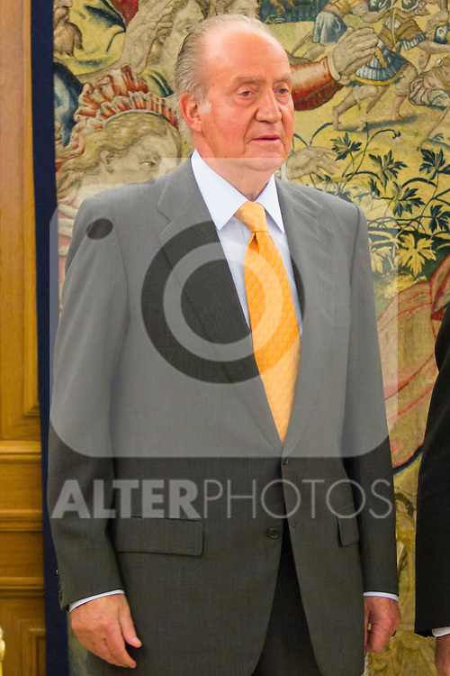 17.07.2012. King Juan Carlos I of Spain receives Mr. Luis Maria Linde Castro, Governor of the Bank of Spain at the Zarzuela Palace in Madrid. In the image Juan Carlos de Borbon