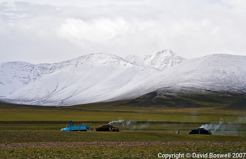 Nomadic herders camp near Namtso Lake in Central Tibet.