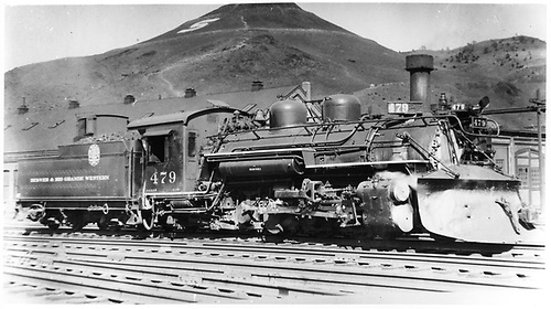 D&amp;RGW #479 K-28 with plow on pilot at Salida with Tenderfoot hill in background.<br /> D&amp;RGW  Salida, CO