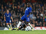 Chelsea's N'Golo Kante tussles with Qarabag's Michel  during the champions league match at Stamford Bridge Stadium, London. Picture date 12th September 2017. Picture credit should read: David Klein/Sportimage