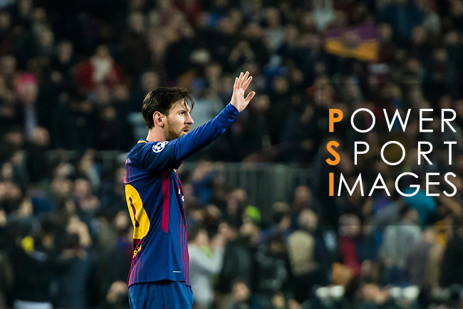 Lionel Andres Messi of FC Barcelona reacts during the UEFA Champions League 2017-18 Round of 16 (2nd leg) match between FC Barcelona and Chelsea FC at Camp Nou on 14 March 2018 in Barcelona, Spain. Photo by Vicens Gimenez / Power Sport Images