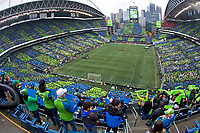 SEATTLE, WA - NOVEMBER 10: General view of Seattle Sounders tifo during a game between Toronto FC and Seattle Sounders FC at CenturyLink Field on November 10, 2019 in Seattle, Washington.