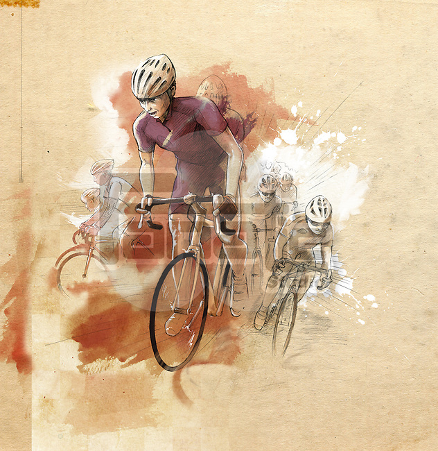Illustrative image of cyclists in race
