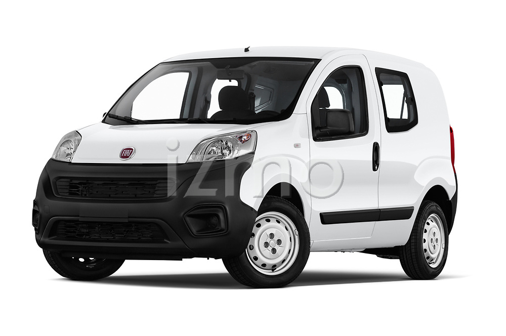 Stock pictures of low aggressive front three quarter view of a 2018 Fiat Fiorino Base 5 Door MPV