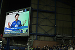 A film of Hollywood actor Sylvester Stallone giving a message to home fans on one of the electronic screens at Goodison Park, Liverpool at half-time during the Premier League match between Everton and West Bromwich Albion. The match ended in a 0-0 draw, despite the home team missing a first-half penalty by Kevin Mirallas. The game was watched by 34,739 spectators and left both teams languishing near the relegation zone.