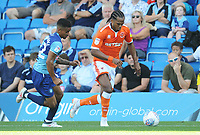 Blackpool's Nathan Delfouneso under pressure from Wycombe Wanderers' Paris Cowan-Hall<br /> <br /> Photographer Kevin Barnes/CameraSport<br /> <br /> The EFL Sky Bet League One - Wycombe Wanderers v Blackpool - Saturday 4th August 2018 - Adams Park - Wycombe<br /> <br /> World Copyright &copy; 2018 CameraSport. All rights reserved. 43 Linden Ave. Countesthorpe. Leicester. England. LE8 5PG - Tel: +44 (0) 116 277 4147 - admin@camerasport.com - www.camerasport.com