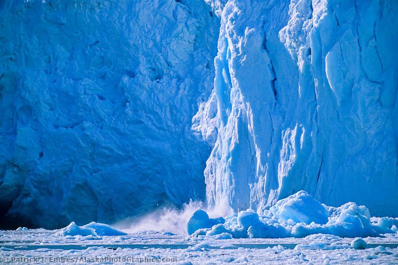 Tidewater face of Barry glacier calves into Prince William Sound, Alaska.