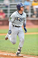 Princeton Rays catcher Roberto Alvarez (13) runs to first base during game two of the Appalachian League Championship Series against the Elizabethton Twins at Joe O'Brien Field on September 5, 2018 in Elizabethton, Tennessee. The Twins defeated the Rays 2-1 to win the Appalachian League Championship. (Tony Farlow/Four Seam Images)