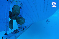Ship propeller and hull, underwater view, Red Sea, Egypt (Licence this image exclusively with Getty: http://www.gettyimages.com/detail/82406602 )
