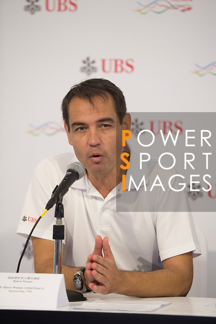 Bjoern Waespe, UBS Global Head of Sponsorship, speaks at a press conference on the sidelines of UBS Hong Kong Open golf tournament at the Fanling golf course on 25 October 2015 in Hong Kong, China. Photo by Aitor Alcalde / Power Sport Images