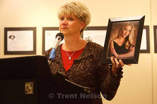 "Ellen Knell of Park City talks about losing her daughter, Erica Knell, 17, in a car crash. Parents of teenagers killed in car crashes shared their stories as the Utah Department of Health released its teen safety campaign ""Thirteen Stories We'd Rather Not Tell,"" Tuesday, October 20 2009 in Salt Lake City."