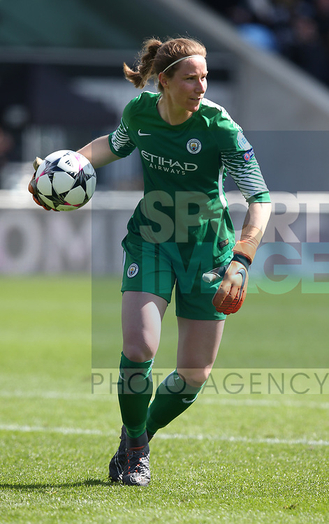 Karen Bardsley of Manchester City during the Women's Champions League, Semi Final 1st leg match at the Academy Stadium, Manchester. Picture date 22nd April 2018. Picture credit should read: Simon Bellis/Sportimage