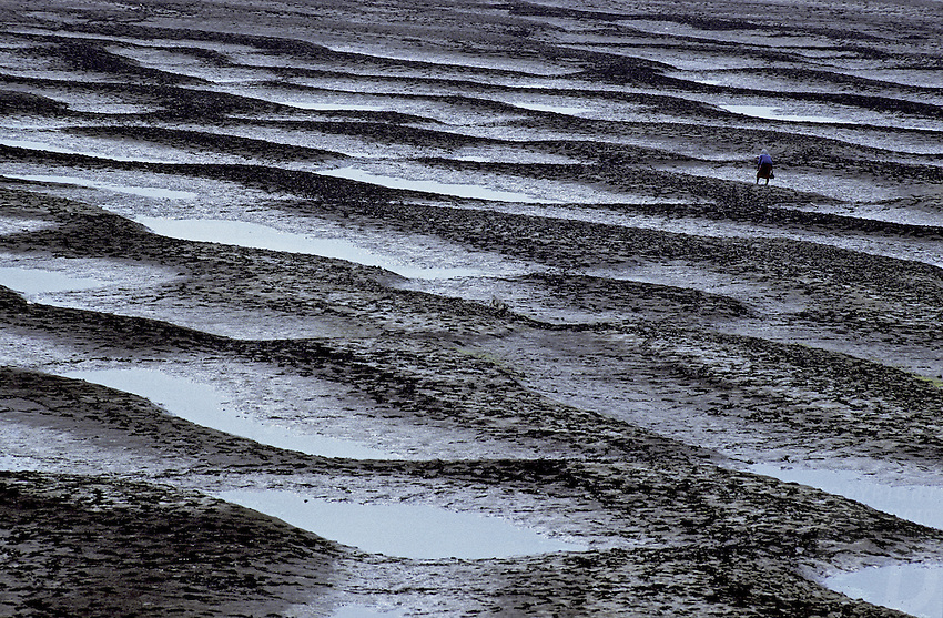 Texture/patterns of the Mekong River during the dry season, a women in the distance collecting shellfish, near Chiang Mai, northern Thailand