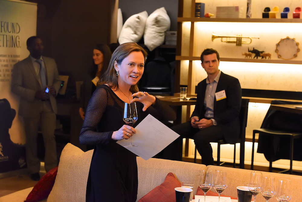 Wine expert and master sommelier Andrea Robinson giving a presentation on Spanish wines at Aldo Sohm Wine Bar.
