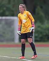 Boston Breakers substitute goalkeeper Alyssa Naeher (1) returns to duty. In a National Women's Soccer League Elite (NWSL) match, Sky Blue FC (white) defeated the Boston Breakers (blue), 3-2, at Dilboy Stadium on June 16, 2013.