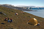 Scientists camped on a patch of tundra while conducting research in Greenland.