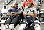 USA's LeBron James (l) and Kevin Durant during training session.July 23,2012(ALTERPHOTOS/Acero)
