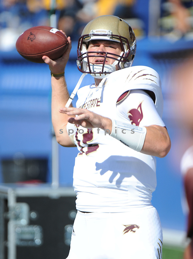 Texas State Bobcats Tyler Arndt (12) in action during a game against San Jose State on October 27, 2012 at Spartan Stadium in San Jose, CA. San Jose State beat Texas State 31-20.