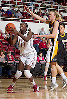 Chiney Ogwumike,attempts to make a basketball during  Saturday, November 25, 2012 game at Stanford against Long Beach State.. Stanford won 77-41.