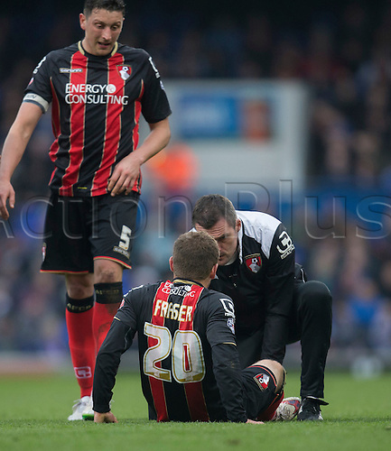 03.04.2015.  Ipswich, England. Skybet Championship. Ipswich Town versus AFC Bournemouth. Bournemouth's Ryan Fraser is treated after a foul on him.