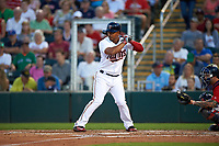 Minnesota Twins shortstop Eduardo Escobar (5) at bat during a Spring Training game against the Boston Red Sox on March 16, 2016 at Hammond Stadium in Fort Myers, Florida.  Minnesota defeated Boston 9-4.  (Mike Janes/Four Seam Images)