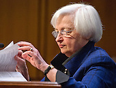 "Janet L. Yellen, Chair, Board of Governors of the Federal Reserve System looks over her notes as she testifies before the United States Congress Joint Economic Committee on ""The Economic Outlook"" in Washington, DC on Thursday, November 17, 2016.  In her prepared remarks Yellen stated ""With regard to the outlook, I expect economic growth to continue at a moderate pace sufficient to generate some further strengthening in labor market conditions and a return of inflation to the Committee's 2 percent objective over the next couple of years.""<br /> Credit: Ron Sachs / CNP"